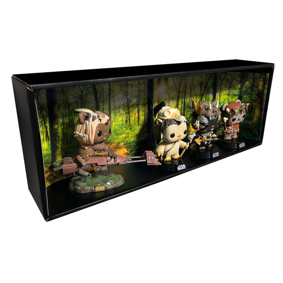 ENDOR - Single Row Display Case with Backdrop Insert, Wall Mountable & Stackable Pop Shelf, Corrugated Cardboard