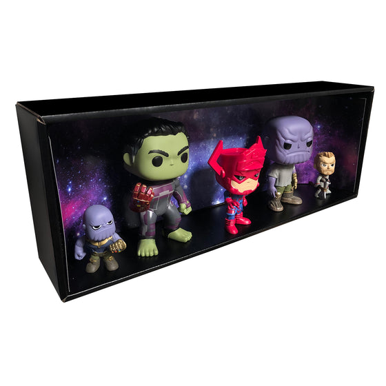 GALAXY - Single Row Display Case with Backdrop Insert, Wall Mountable & Stackable Pop Shelf, Corrugated Cardboard