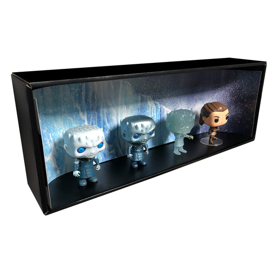 **ETA October** GAME OF THRONES - Single Row Display Case with Backdrop Insert, Wall Mountable & Stackable Pop Shelf, Corrugated Cardboard