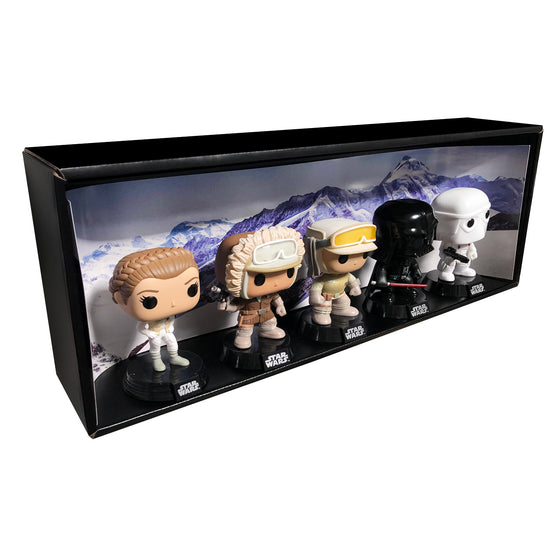 HOTH - Single Row Display Case with Backdrop Insert, Wall Mountable & Stackable Pop Shelf, Corrugated Cardboard