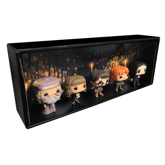 **ETA October** HARRY POTTER - Single Row Display Case with Backdrop Insert, Wall Mountable & Stackable Pop Shelf, Corrugated Cardboard