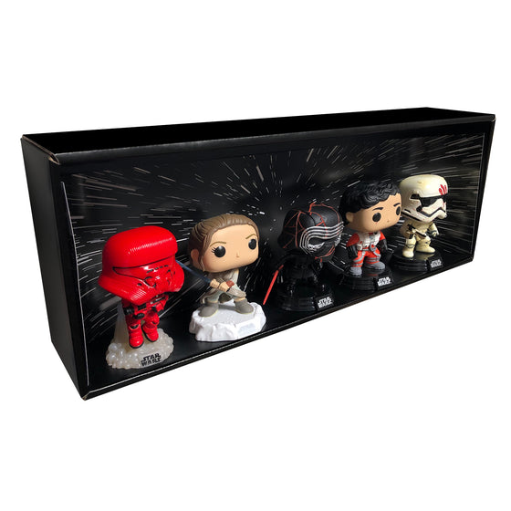 STAR WARS - Single Row Display Case with Backdrop Insert, Wall Mountable & Stackable Pop Shelf, Corrugated Cardboard