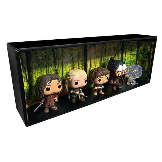 LORD OF THE RINGS - Single Row Display Case with Backdrop Insert, Wall Mountable & Stackable Pop Shelf, Corrugated Cardboard