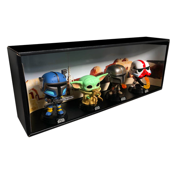 MANDALORIAN - Single Row Display Case with Backdrop Insert, Wall Mountable & Stackable Pop Shelf, Corrugated Cardboard