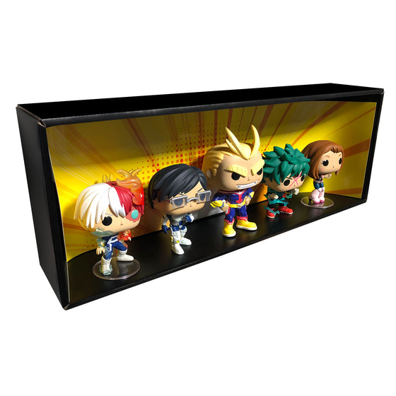 MY HERO ACADEMIA - Single Row Display Case with Backdrop Insert, Wall Mountable & Stackable Pop Shelf, Corrugated Cardboard