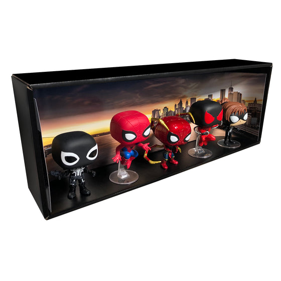 **ETA October** SPIDER-MAN - Single Row Display Case with Backdrop Insert, Wall Mountable & Stackable Pop Shelf, Corrugated Cardboard