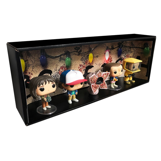 **ETA October** STRANGER THINGS - Single Row Display Case with Backdrop Insert, Wall Mountable & Stackable Pop Shelf, Corrugated Cardboard