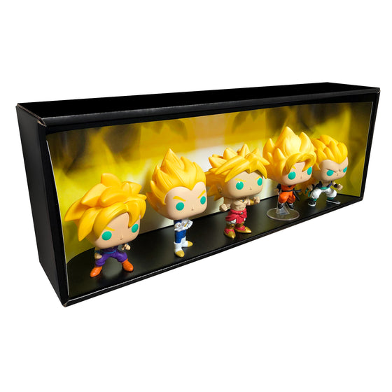 **ETA October** SUPER SAIYAN - Single Row Display Case with Backdrop Insert, Wall Mountable & Stackable Pop Shelf, Corrugated Cardboard