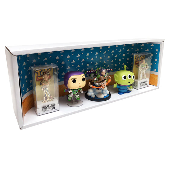 TOY STORY - Single Row Display Case with Backdrop Insert, Wall Mountable & Stackable Pop Shelf, Corrugated Cardboard
