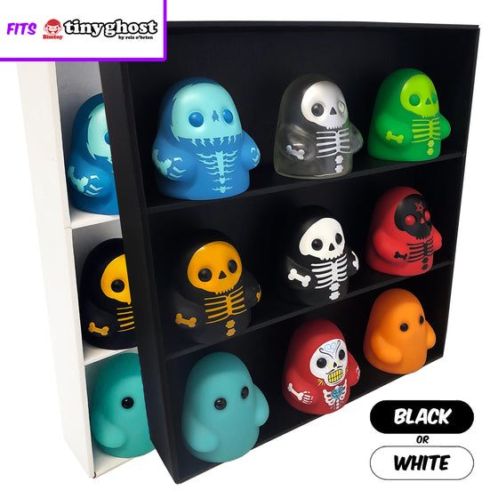 **BACK IN STOCK MAY 13TH** SPECIFIC - Display Case for Bimtoy Tiny Ghost, Wall Mountable & Stackable Toy Shelf, Corrugated Cardboard - Display Geek