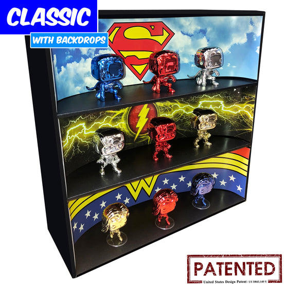 DC COMICS - Display Case for Funko Pops with 3 Backdrop Inserts, Corrugated Cardboard - Display Geek