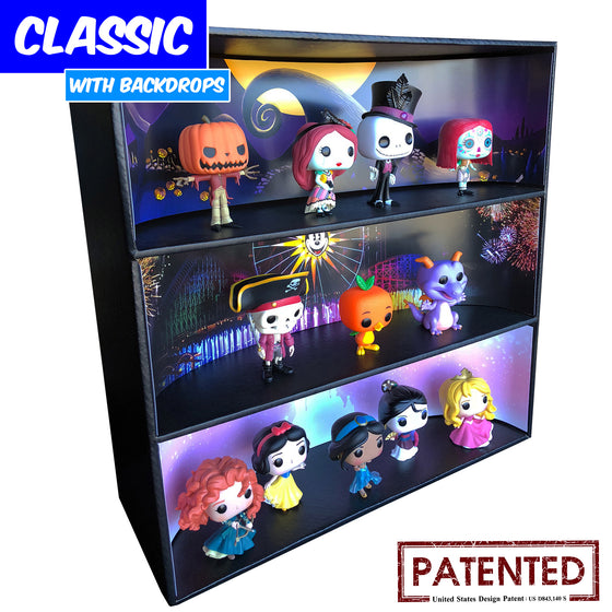 **BACK IN STOCK MAY 13TH** DISNEY - Display Case for Funko Pops with 3 Backdrop Inserts, Corrugated Cardboard - Display Geek