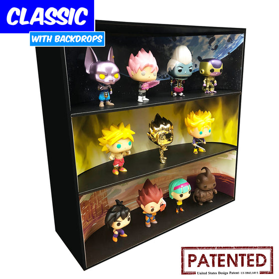 **BACK IN STOCK MAY 13TH** DRAGON BALL - Display Case for Funko Pops with 3 Backdrop Inserts, Corrugated Cardboard - Display Geek
