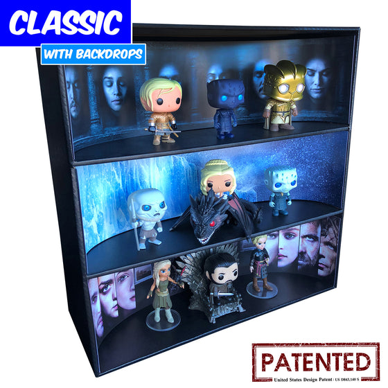 **BACK IN STOCK MAY 13TH** GAME OF THRONES - Display Case for Funko Pops with 3 Backdrop Inserts, Corrugated Cardboard - Display Geek