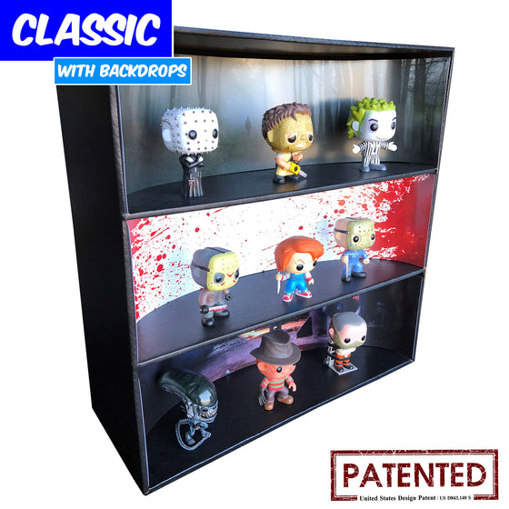 **BACK IN STOCK MAY 13TH** HORROR - Display Case for Funko Pops with 3 Backdrop Inserts, Corrugated Cardboard - Display Geek