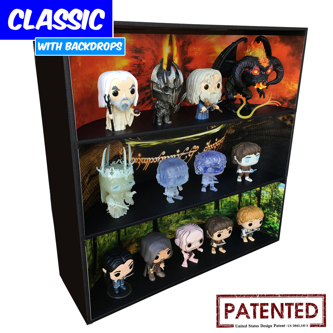 LORD OF THE RINGS - Funko Pop Display with 3 Backdrop Inserts Included, Black Corrugated Cardboard - Display Geek, Inc.