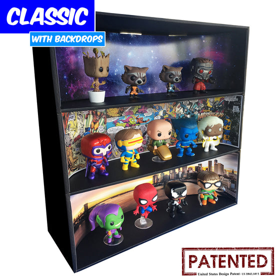 MARVEL - Display Case for Funko Pops with 3 Backdrop Inserts, Corrugated Cardboard - Display Geek