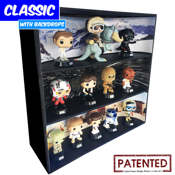 **BACK IN STOCK MAY 13TH** STAR WARS - Display Case for Funko Pops with 3 Backdrop Inserts, Corrugated Cardboard - Display Geek