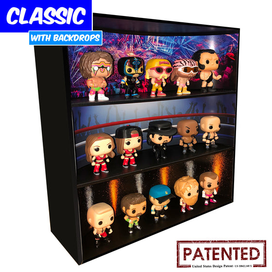 WWE - Display Case for Funko Pops with 3 Backdrop Inserts, Corrugated Cardboard - Display Geek