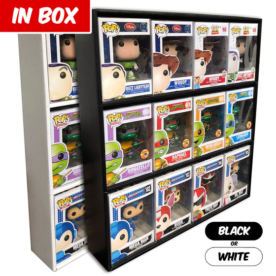 **BACK IN STOCK MAY 13TH** IN BOX - Display Case for Funko Pops, Wall Mountable & Stackable Toy Shelf, Corrugated Cardboard - Display Geek