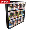 IN BOX (BLACK) - Display Case for Funko Pops, Wall Mountable & Stackable Toy Shelf, Corrugated Cardboard