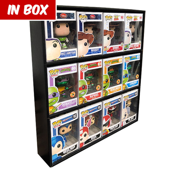 **AT SDCC, ORDERS GO OUT NEXT WEEK** IN BOX (BLACK) - Display Case for Funko Pops, Wall Mountable & Stackable Toy Shelf, Corrugated Cardboard
