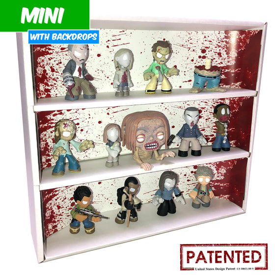 BLOODY - MINI Display Case for Small Toys with 3 Backdrop Inserts, Corrugated Cardboard - Display Geek