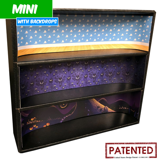 DISNEY - MINI Display Case for Small Toys with 3 Backdrop Inserts, Corrugated Cardboard - Display Geek