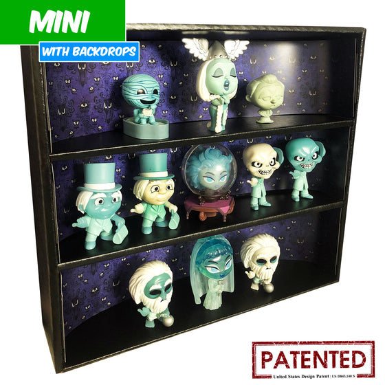 HAUNTED MANSION - MINI Display Case for Small Toys with 3 Backdrop Inserts, Corrugated Cardboard - Display Geek
