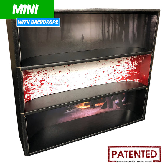 HORROR - MINI Display Case for Small Toys with 3 Backdrop Inserts, Corrugated Cardboard - Display Geek