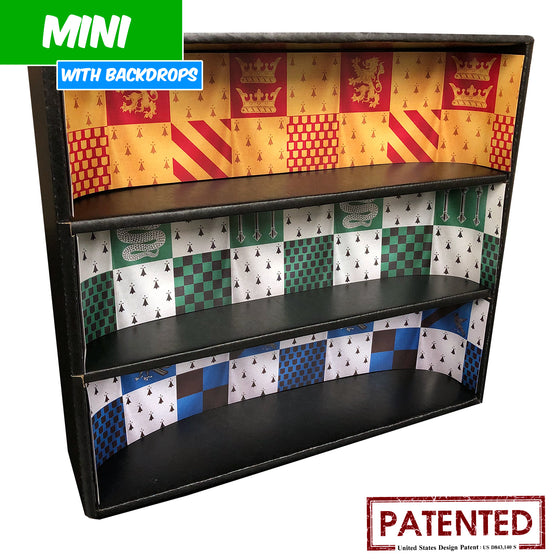 HARRY POTTER - MINI Display Case for Small Toys with 4 Backdrop Inserts, Corrugated Cardboard - Display Geek