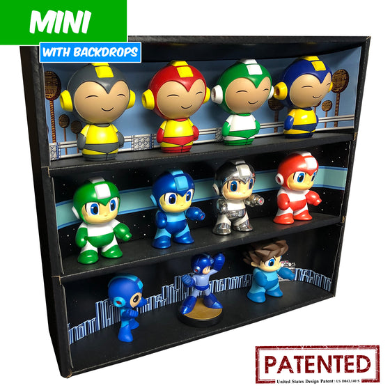 MEGA MAN - MINI Display Case for Small Toys with 3 Backdrop Inserts, Corrugated Cardboard - Display Geek