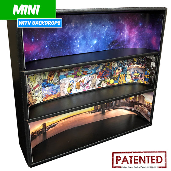 MARVEL - MINI Display Case for Small Toys with 3 Backdrop Inserts, Corrugated Cardboard - Display Geek