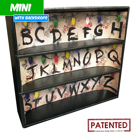 STRANGER THINGS - MINI Display Case for Funko Toys with 3 Backdrop Inserts, Corrugated Cardboard - Display Geek