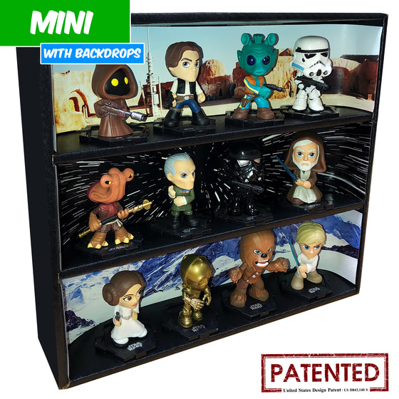 STAR WARS - MINI Display Case for Small Toys with 3 Backdrop Inserts, Corrugated Cardboard - Display Geek