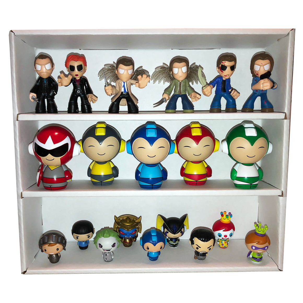 **PRE-ORDER** Mini White Stackable Funko Pop Display Toy Shelf for Vinyl Collectibles, Corrugated Cardboard