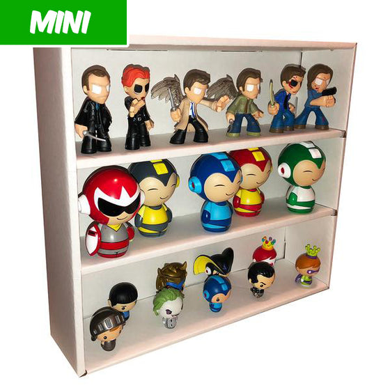 MINI - White Display Case for Small Toys, Wall Mountable & Stackable, Corrugated Cardboard - Display Geek