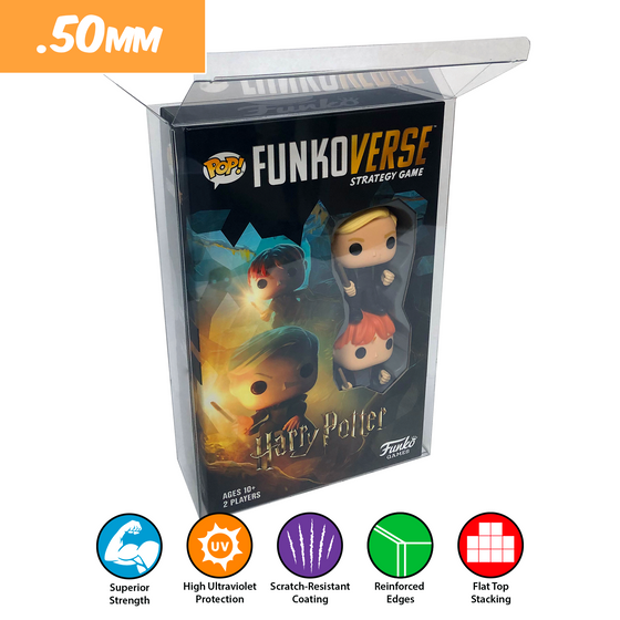 FUNKOVERSE Pop Protectors for Tall Funko Board Games, 50mm thick popshield vaulted vinyl