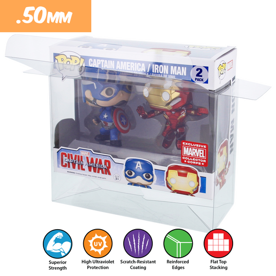 2PACK Pop Protectors for 4 in. Funko Vinyl Collectible Figures, 50mm thick popshield vaulted vinyl