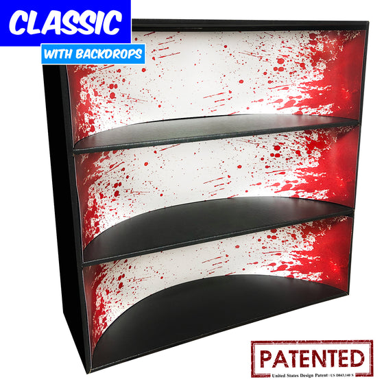 **BACK IN STOCK MAY 13TH** BLOODY - Display Case for Funko Pops with 3 Backdrop Inserts, Corrugated Cardboard - Display Geek