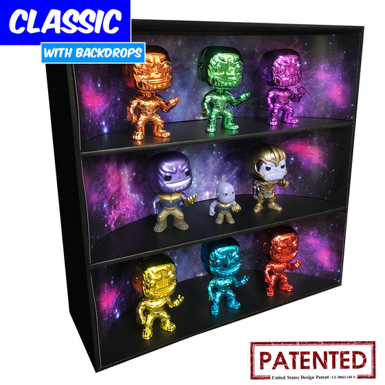 **BACK IN STOCK MAY 13TH** GALAXY - Display Case for Funko Pops with 3 Backdrop Inserts, Corrugated Cardboard - Display Geek