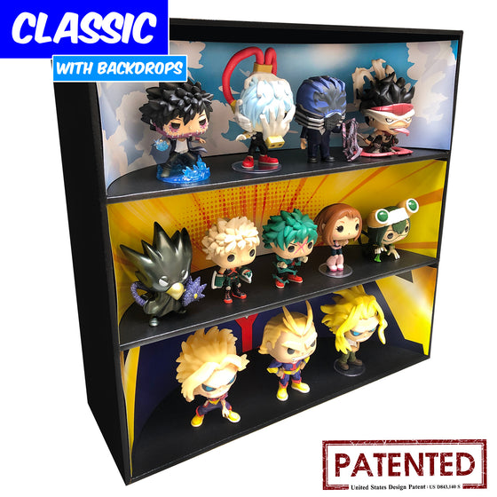 MY HERO ACADEMIA - Display Case for Funko Pops with 3 Backdrop Inserts, Corrugated Cardboard - Display Geek