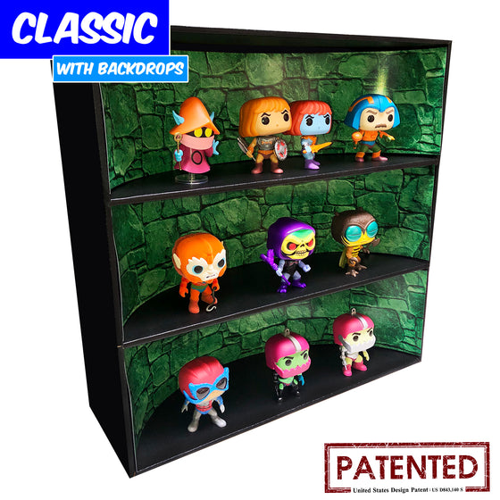 **BACK IN STOCK MAY 13TH** MOTU CASTLE - Display Case for Funko Pops with 3 Backdrop Inserts, Corrugated Cardboard - Display Geek