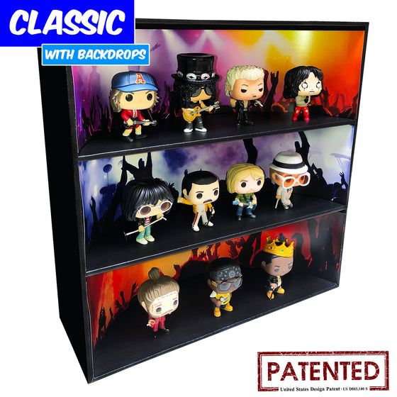 ROCK CONCERT - Display Case for Funko Pops with 3 Backdrop Inserts, Corrugated Cardboard - Display Geek