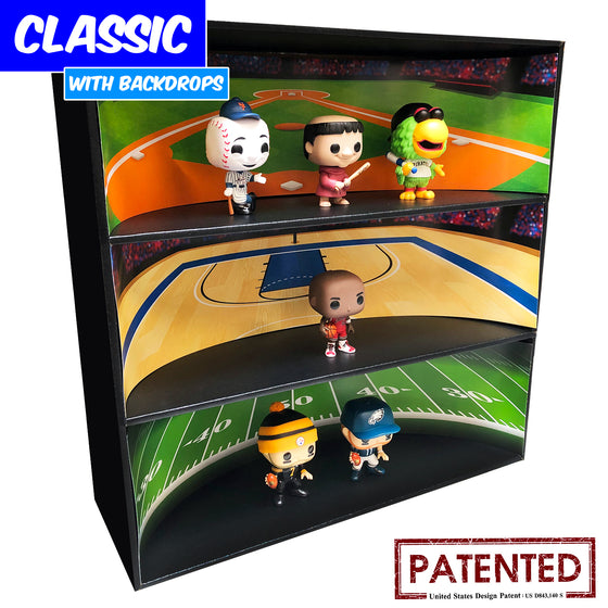SPORTS - Display Case for Funko Pops with 4 Backdrop Inserts, Corrugated Cardboard - Display Geek