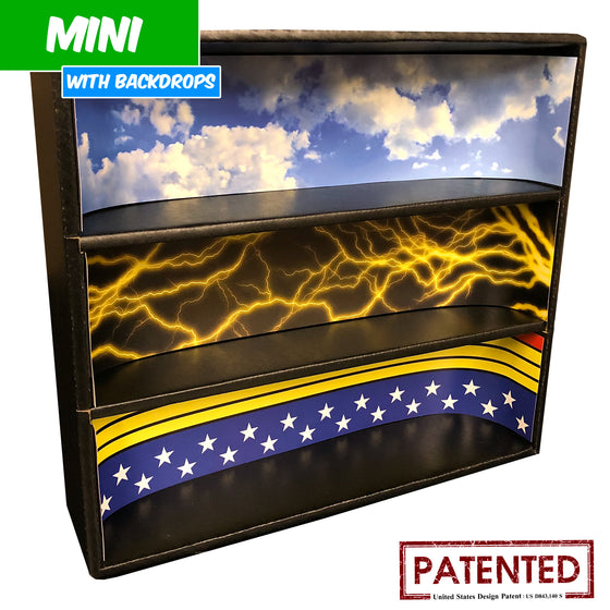 DC - MINI Display Case for Small Toys with 3 Backdrop Inserts, Corrugated Cardboard - Display Geek
