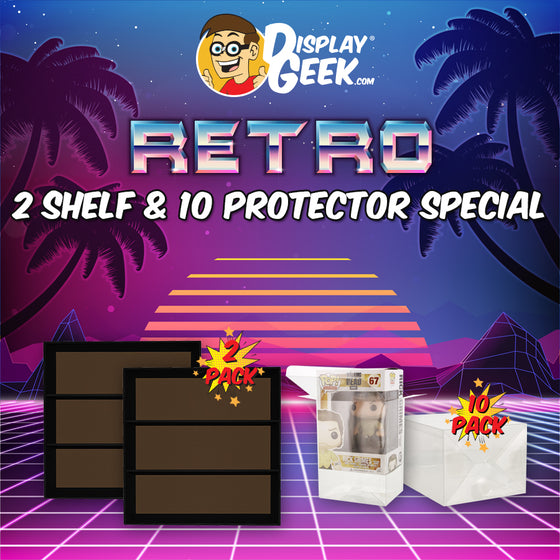 RETRO SPECIAL - 2 Displays & 10 Protectors for Funko Pops (LIMITED TIME ONLY!) - Display Geek