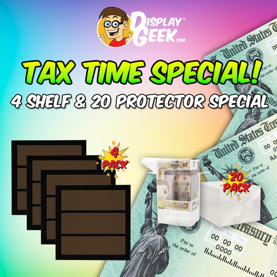 **BACK IN STOCK MAY 13TH** TAX TIME SPECIAL - 4 Displays & 20 Protectors for Funko Pops (LIMITED TIME ONLY!) - Display Geek