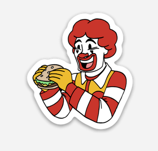 "Clown Sticker  (1.82"" x 2"") - Display Geek"