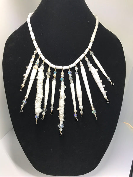 A Shimmering White Hand Rolled Beaded Statement Bridal Necklace High Fashion Luxury